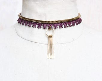 Lace choker necklace - TARDUST - Black or burgundy lace