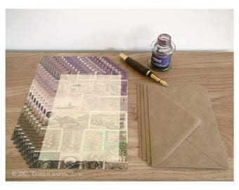 Heather Hills Writing Paper Set - A5 Notepaper, Postage Stamp Art Design