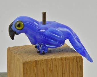 BLUE Macaw the  Lampwork Glass Bead Parrot, Bird , Glass Sculpture Collectible, Focal Bead, Izzybeads SRA