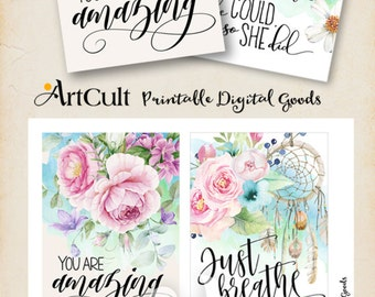 "Printable MOTIVATIONAL GREETING CARDS No.6 digital download 3.5""x5"" size images hand-painted flowers typography art for decoration and craft"