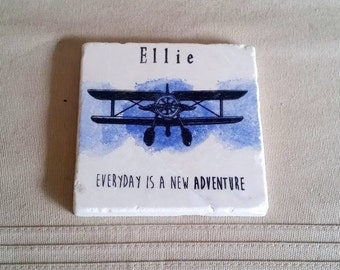 Personalized Stone Coasters - Vintage Plane Tile Drink Holders - Mother's Day Gift - Everyday is a new adventure design