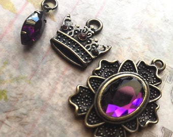 3pc Purple/Amethyst Faceted Glass Stone Pendant and Crown Charm set, Antique Brass Crown, Purple Glass Stone Pendant, Purple Crown