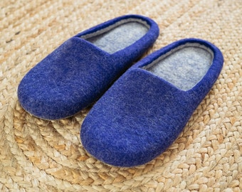"Blue for Dreamers "" wool felted slippers for the comfort lovers"