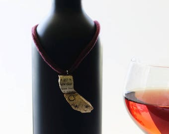 california necklace - california jewelry - state necklace - wine cork necklace - california gift - california pendant - wine lover gift