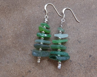 Long green beach glass earrings - green glass jewellery. Organic, natural, rustic, primitive jewelry - unique handmade in Australia