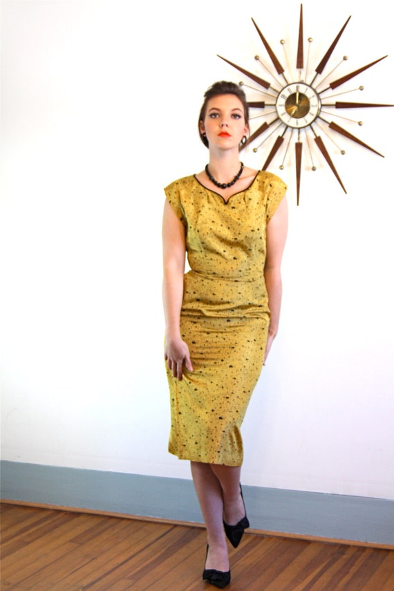 Vintage 50s Rayon Wiggle Dress Mid Century Modern Mustard Yellow Harvest Gold Atomic Sexy Bombshell 50s early 1960s MAD MEN Retro Cocktail