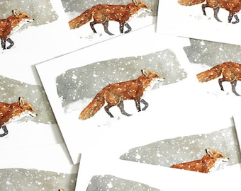 Fox in Snow Christmas Card Set, Winter watercolor greeting cards