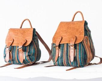 Stripe wool backpack with brown leather flap, canvas rucksack knapsack everyday back bag women - Artemis backpack