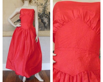 Vintage Adele Simpson Montaldos Red Silk Tea Length Dress Gown XS 0 2 Prom Wedding Formal