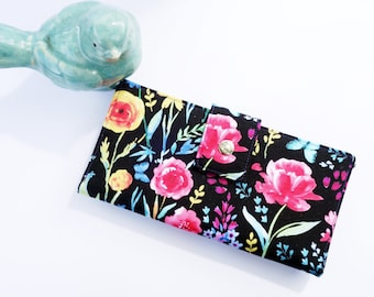 Floral Womens Wallet, Womens Wallet Clutch, Floral Wallet Clutch, gift for wife, women's gift idea, ladies wallet, mom birthday gift
