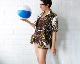 dark brown print zip front 60s tiki shirt - 1211222