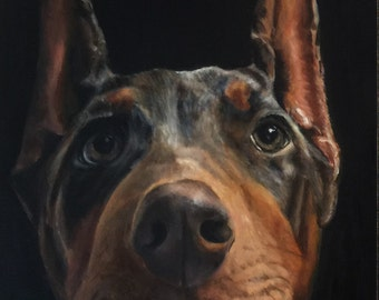 "9"" x 12"" Custom Pet Portrait Oil Painting"