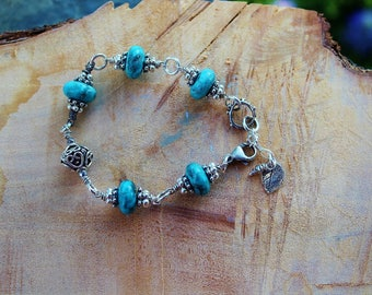 Handmade Large Turquoise Layering Bracelet, OOAK Boho Urban Chic Bracelet, Wearable Art, Handcrafted Artisan Sterling Silver Bracelet
