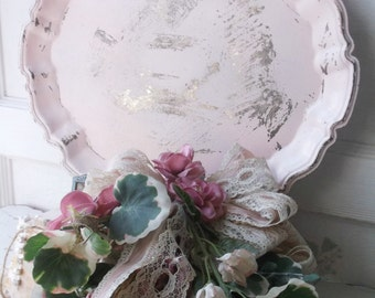 Shabby Painted Silver Tray. Blush Pink Distressed Silver Tray.  Vintage Scalloped Tea Tray. Easter Spring Pastel. Shabby Cottage Chic