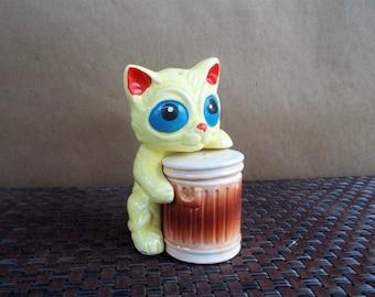 Vintage Tom Cat  and Garbage Can Ceramic Salt and Pepper Set