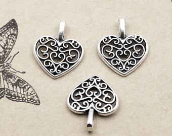 10 pcs Tibet Silver Heart Charm Pendant 15 mm x 16 mm