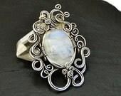 Moonstone Silver Pendant, Moonstone Pendant, Wire Wrapped Pendant, Gemstone Pendant, Moonstone Necklace, Moonstone Jewelry, Gift for Her