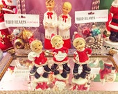 Vintage 50s Christmas Santa Pixie Elf Spaghetti Figurines Trio Set of 3