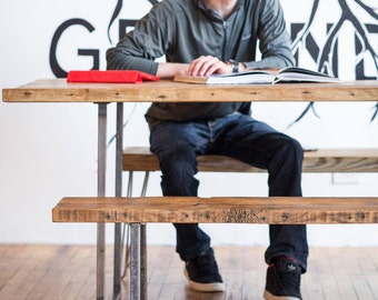"""Wood Bench with square steel legs (1.65"""" Standard Top, 36""""L x 11.5""""w x 18""""h).  Choice of wood thickness, finish and size."""