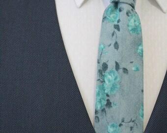 Dusty Shale Floral Italian Wool Neck Tie