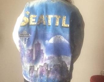 L hand painted Seattle ACID WASH 90s vintage Michael Scott sportswear Texolite large Unisex club kid hipster hip hop jean denim jacket mens
