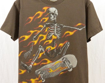 Vintage Skateboarder T Shirt, Size XS-Small, Skeleton, Flames, 90's Clothing, Unique, Tumblr Clothing, Grunge, Rad, Punk, Teen