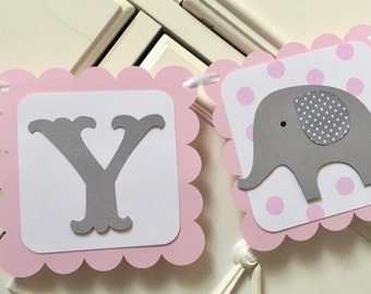 Elephant Baby Shower Banner Its a Girl Name Banner Pink and Gray Elephant Decorations Polka Dot Grey Highchair banner Baby Name Banner Girls
