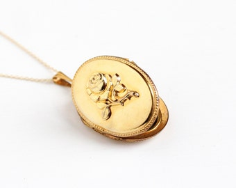 Vintage Gold Plated Rose Flower German Locket Necklace - 1940s WWII Germany Oval Pendant Floral Gold Filled Original Photos Jewelry