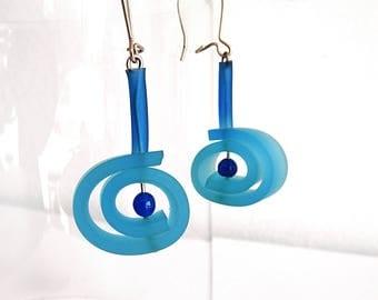 Blue earrings,geometric rubber earrings - Summer round dangle earrings jade minimalist bead earrings chic tribal boho earrings