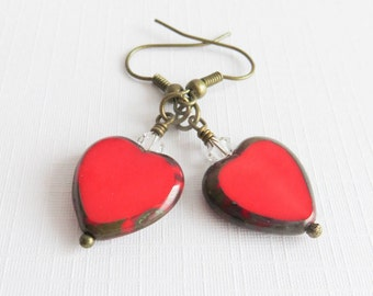 Red heart earrings, dangle earrings, red jewelry, gift for her, romantic jewelry, bronze rustic jewelry