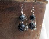 snowflake obsidian earrings . SILENCE . black obsidian earrings . black earrings . Alzheimer's charity earrings . black and gray earrings