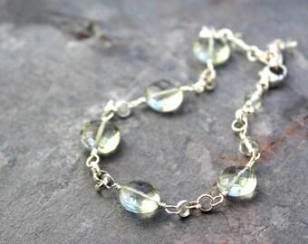 Green Amethyst Bracelet Sterling Silver Coins Prasiolite Bracelet Wire Wrapped Gemstone Bracelet
