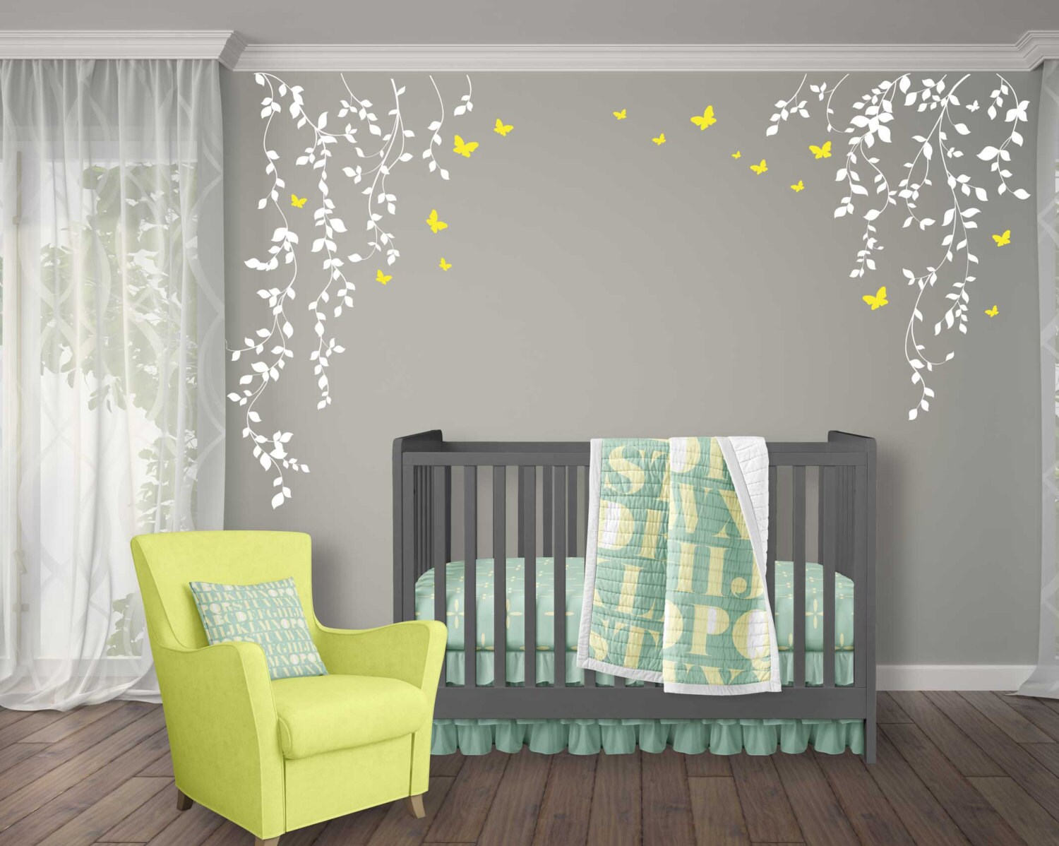Butterflies And Hanging Vines Wall Decal For Baby Girl Nursery
