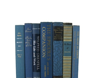 Set of Blue Vintage Books, Gift for Book Lover, Old Books for Home Decor, Wedding Centerpieces