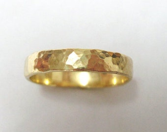 Wedding Band, Hammered Gold  - For Him Or Her - 14k Modern Gold Band - Hammered Texture Finish - Timeless Unique Wedding Ring