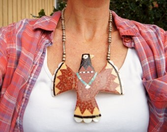 Old Santo Domingo Inlay Kewa Thunderbird Necklace