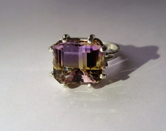 Large Top Grade Natural Bi-Color Ametrine In Sterling Silver Ring 6.04ct. Size 6.75