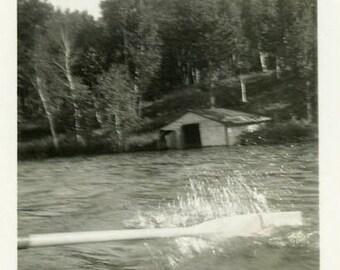 "Vintage Photo ""Row Row Row Your Boat"" Snapshot Antique Photo Old Black & White Photograph Found Paper Ephemera Vernacular - 183"