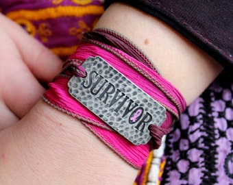 Breast Cancer Survivor Silk Ribbon Wrap Bracelet