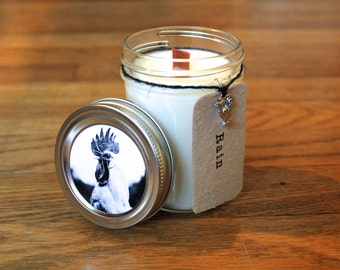 Rain Scented Woodwick Candle - Plantable Tag - 8 oz. Soy Candle - Wildflower Seed Tag - Rooster - Americana - Handmade Candle