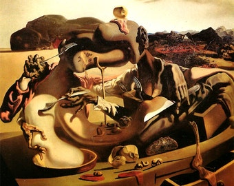 Autumn Cannabalism by Salvador Dali, Vintage 1974 8x11 Color Modern Surreal Book Art Print, FREE SHIPPING