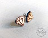 Diamond wood earring studs. -- wood diamond earrings, wood diamond studs, geometric earrings minimalist wood diamond HYPOALLERGENIC earrings