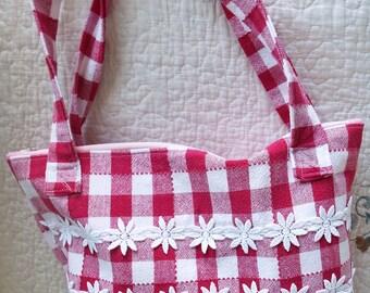 Red & White Checked Gingham Purse Handbag