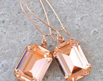 Rose Gold Peach Earrings Swarovski Crystal Vintage Peach Large Rectangle Long Kidney Wire Dangle Earrings Peach Bridesmaid Earrings Wedding