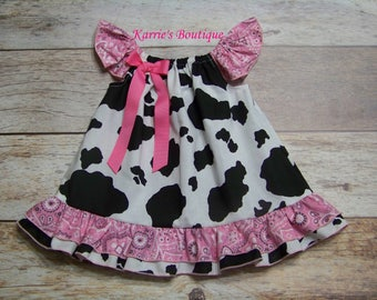 Cowgirl Ruffle Dress / Cow Print & Pink Bandana / Western Wear  / Rodeo / Newborn / Infant / Baby / Girl / Toddler/ Custom Boutique Clothing