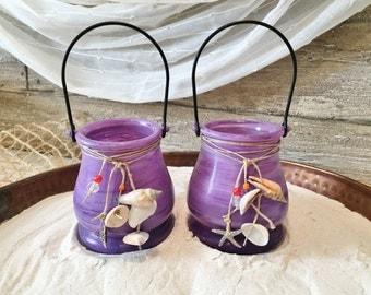 Beach Wedding Decor, Coastal Decor, Beach Decor, Purple Candle Holder, Purple Candles, Purple Centerpieces, Tabletop Decor, Reception Decor