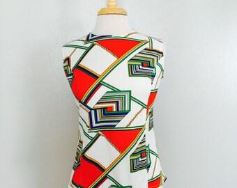60s Geometric Shirt // MOD Tank Top // Rainbow Blouse // Size Medium