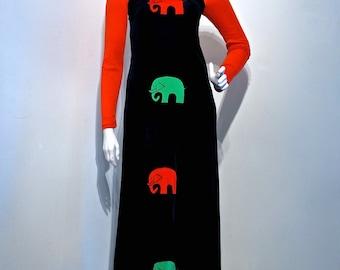 Vintage 1970s POP ART Scandinavian Elephant Applique Stretch Jersey Maxi Dress // Made in Sweden