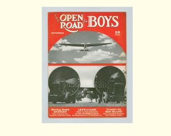 The Open Road for Boys Magazine September 1941 Issue,  Adventure Stories, Gliders, Preparing for WWII, Dionne Quintuplets,Vintage Periodical