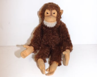 Vintage Steiff monkey gorilla Jocko mohair soft toy collectables stuffed animal with squeaker NO BUTTON